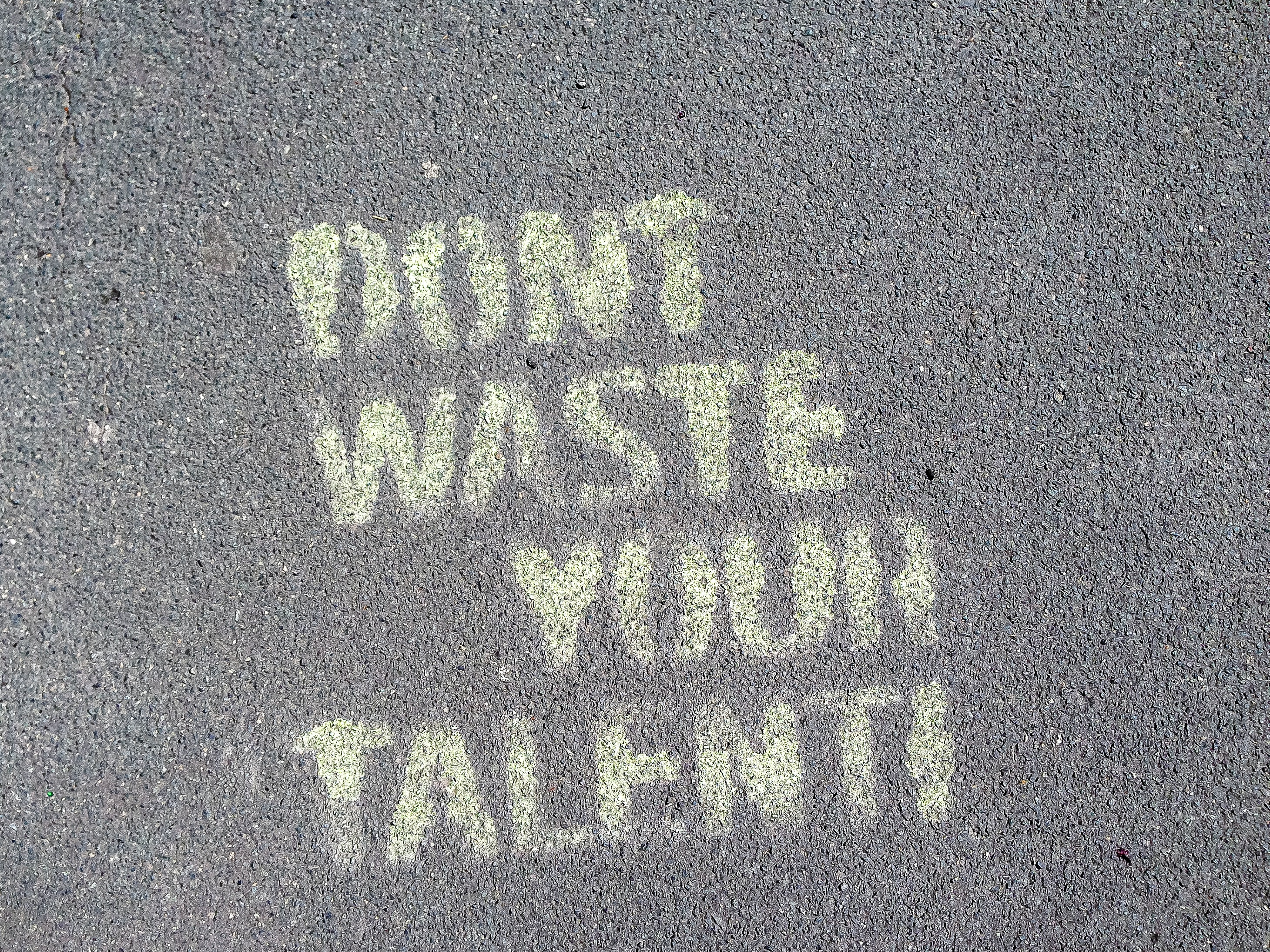 don't wast your talent