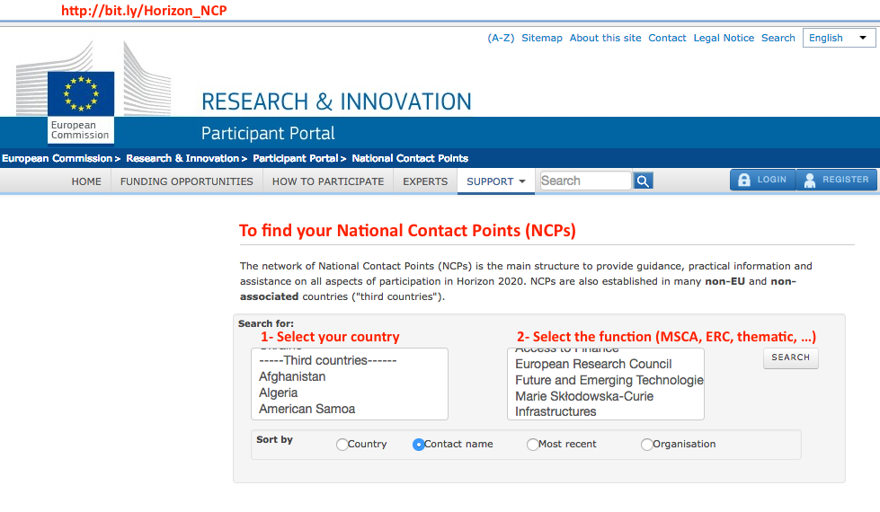 How to find Horizon 2020 NCPs on Participant Portal?